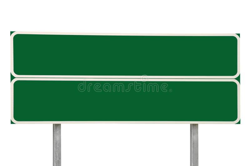两个交叉路路标,绿化被隔绝的交通标志拷贝空间背景,大详细的特写镜头,白色框架 库存照片