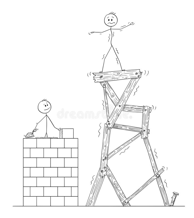 两个人动画片或商人,他们中的一个慢慢地建造从砖的质量塔,第二个人站立  库存例证
