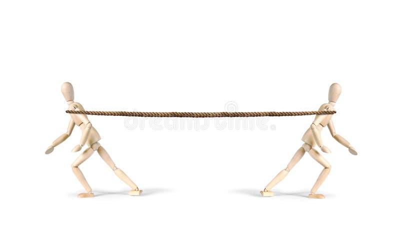 两个人拉扯一条绳索用不同的方向 猛拉战争 库存照片