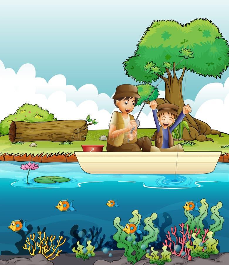 两个人钓鱼 向量例证