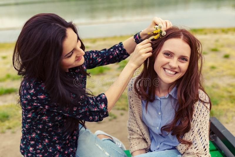 两个俏丽的姐妹女孩获得乐趣一起,领域花在头发 免版税图库摄影