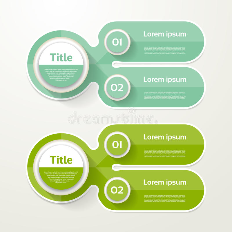 两个元素横幅 2步设计,绘制, infographic,步  皇族释放例证