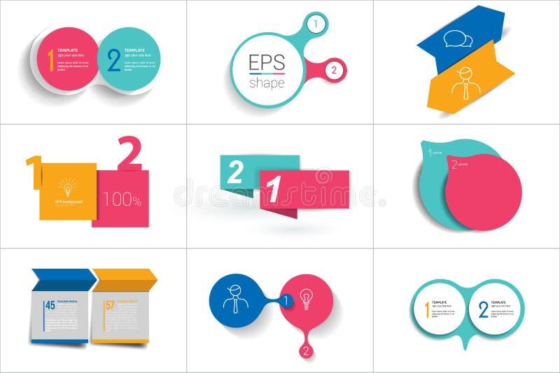 两个元素横幅 2步设计,绘制, infographic,逐步的数字选择,布局 向量例证