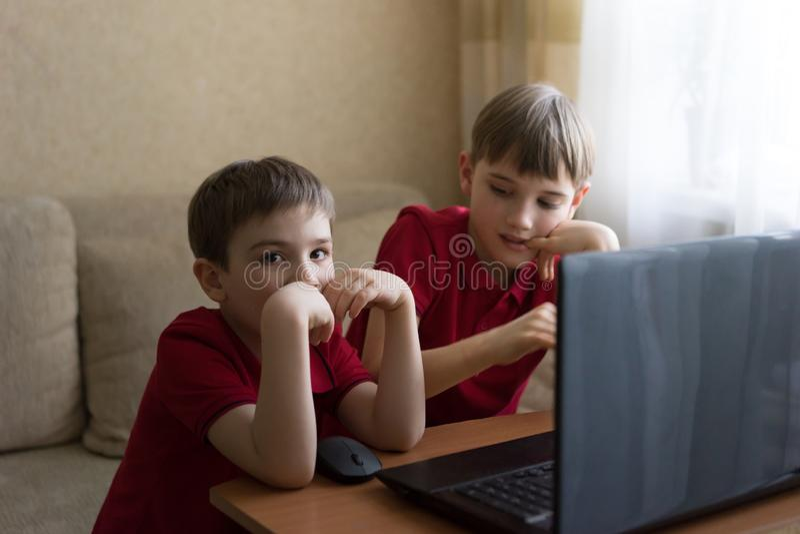 两个兄弟在客厅坐并且使用与个人计算机 免版税图库摄影