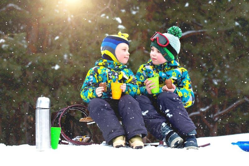 两个兄弟在sledging以后喝热的茶在一个多雪的森林里 冬天乐趣为圣诞节假期 免版税库存照片