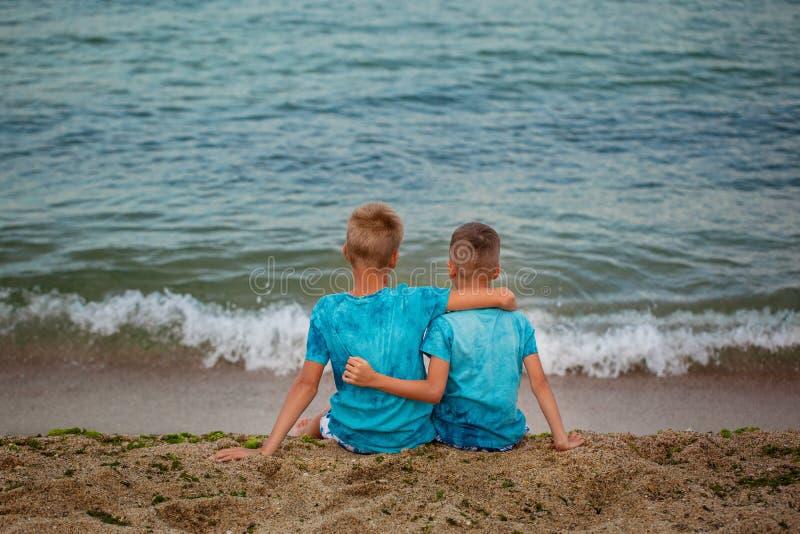 两个兄弟坐海在夏日靠岸 回到视图 免版税图库摄影
