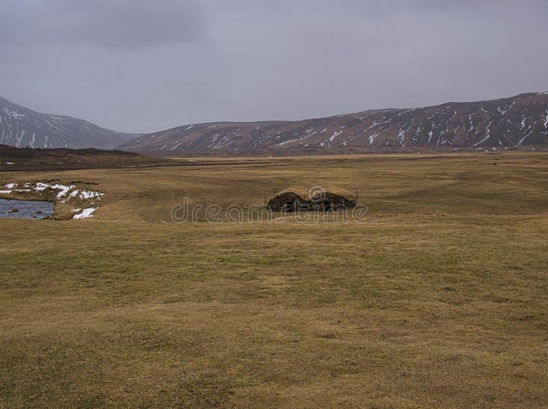 两个分隔的泥煤房子在草甸 库存图片