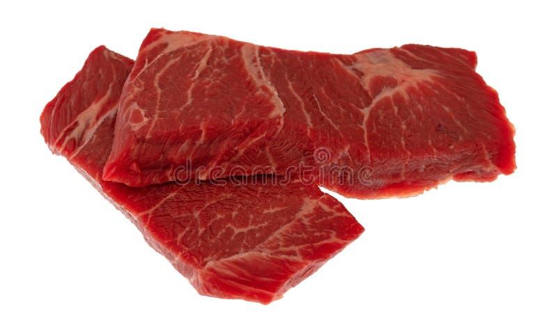 两个切片在一张白色背景侧视图的牛肉牛颈肉无骨的牛排骨牛排 免版税库存图片
