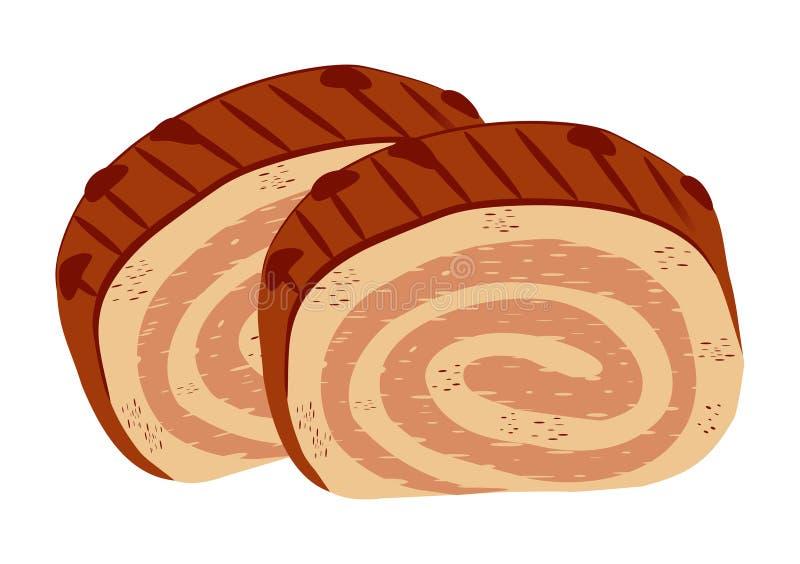 两个切片巧克力卷 皇族释放例证