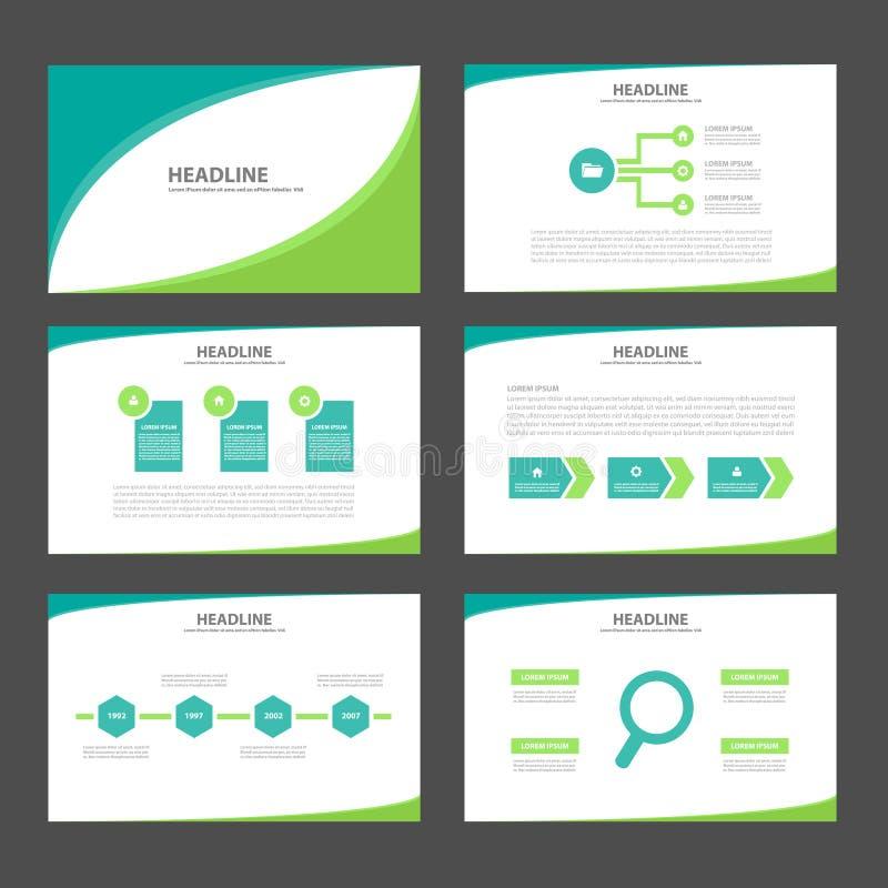两个口气绿色Infographic元素象介绍模板平的设计为给营销小册子飞行物做广告设置了 皇族释放例证