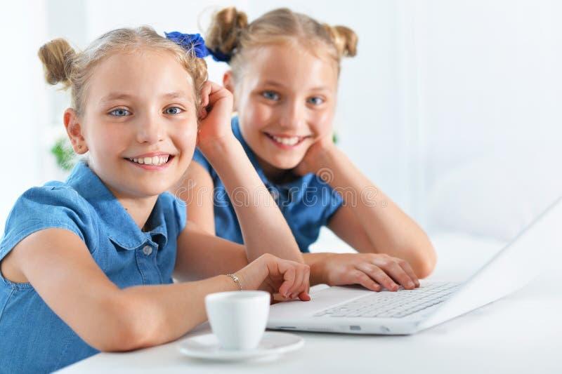 两个可爱的双姐妹 免版税库存图片