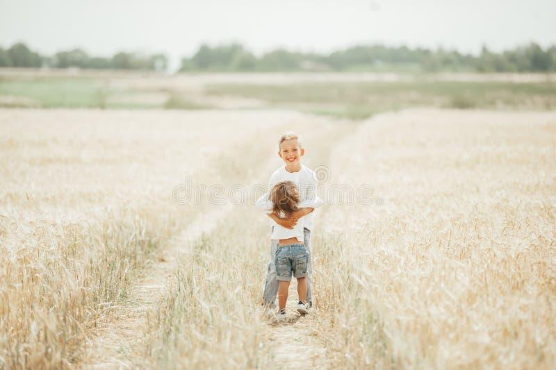 两个可爱的孩子,女孩和男孩,拥抱在麦田 免版税库存图片