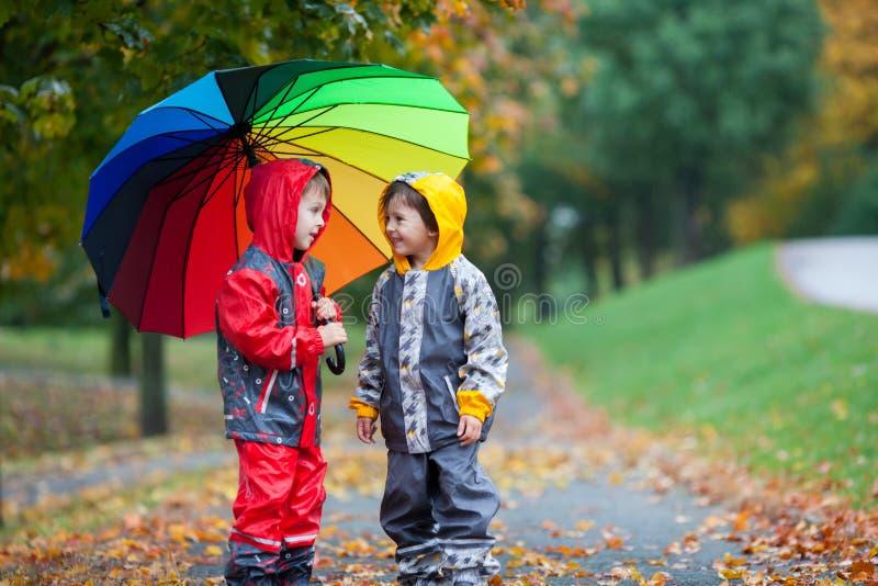 两个可爱的孩子,男孩兄弟,使用在有umbrel的公园 免版税图库摄影
