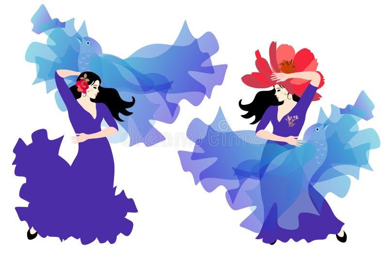 两个吉普赛女孩-摆在与在飞鸟形状的透明manton的长的丁香蓝色礼服的佛拉明柯舞曲舞蹈家  向量例证