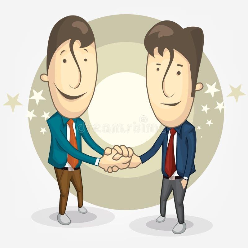 两个商人动画片握手对他的介入 合伙企业 库存例证