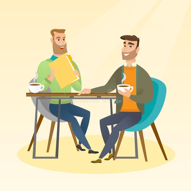 两个商人在业务会议期间 向量例证
