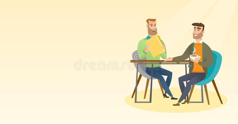 两个商人在业务会议期间 皇族释放例证