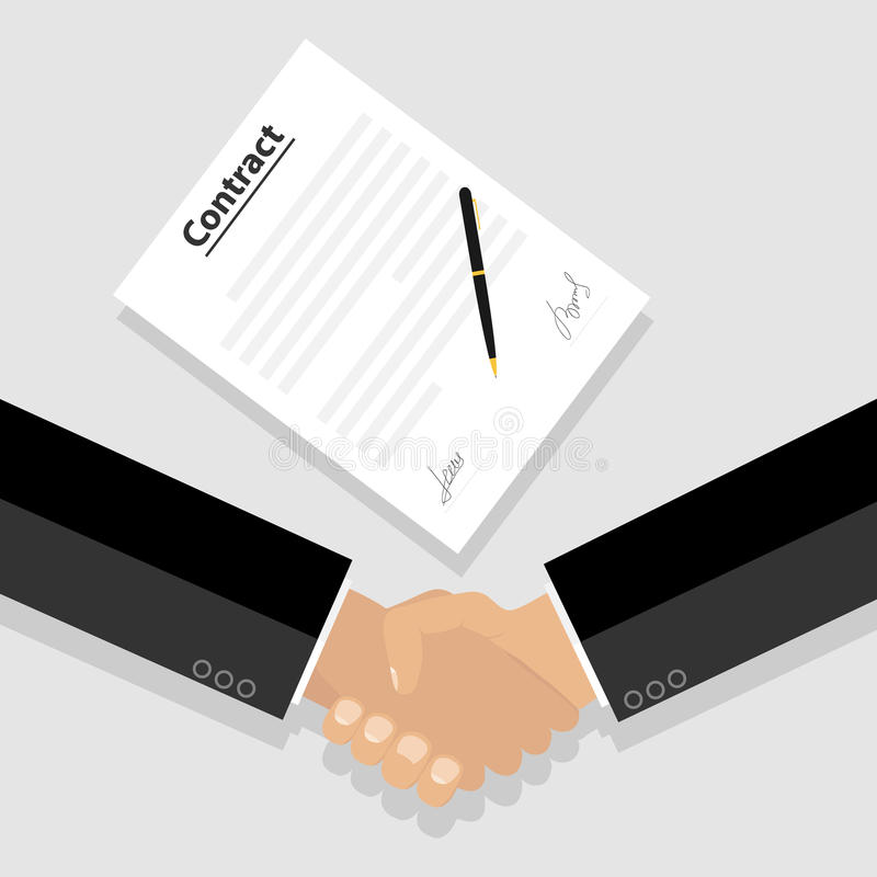 两个商人在签合同以后握手 皇族释放例证