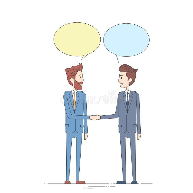 两个商人手震动谈的闲谈箱子泡影通信概念,商人握手 皇族释放例证