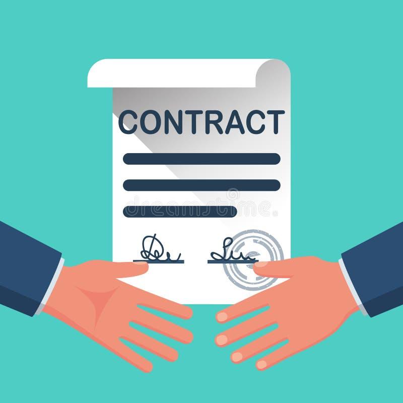 两个商人握手在签的合同的背景的 皇族释放例证