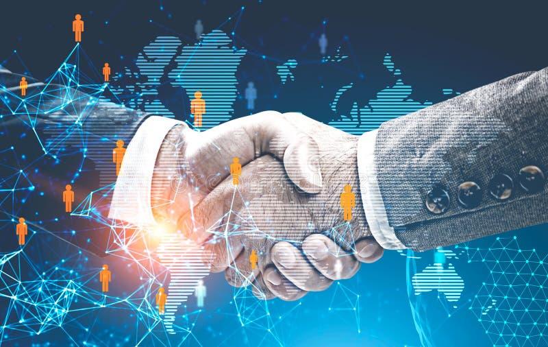 两个商人握手,全球性世界 库存图片