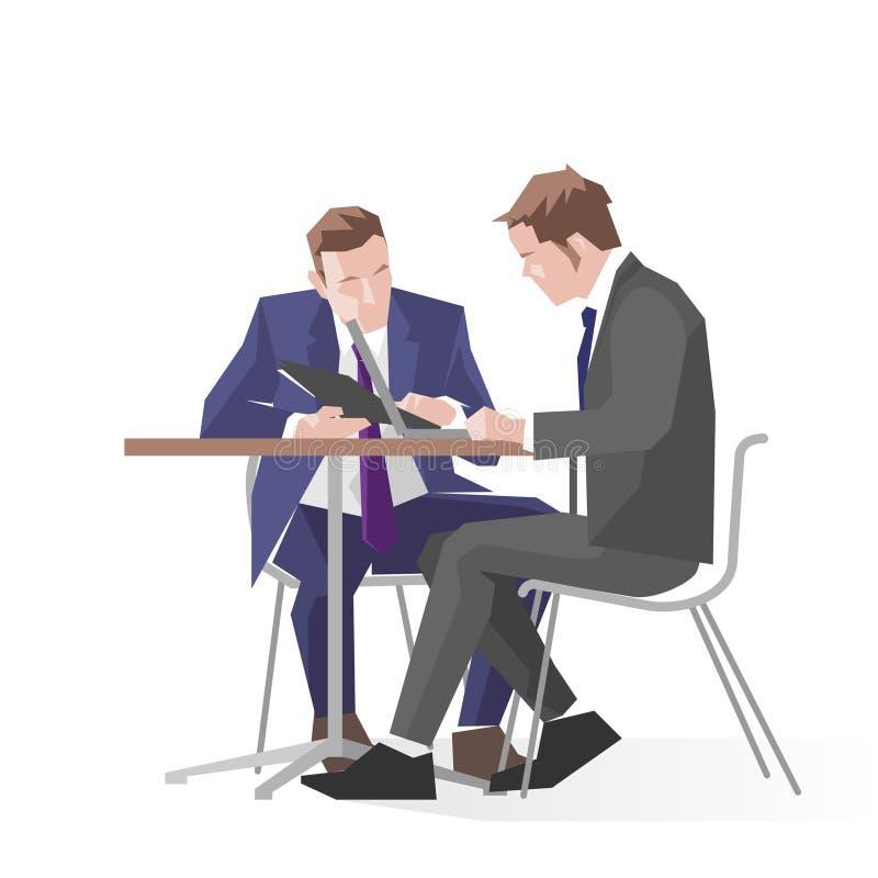 两个商人的例证在会议使用膝上型计算机 库存例证