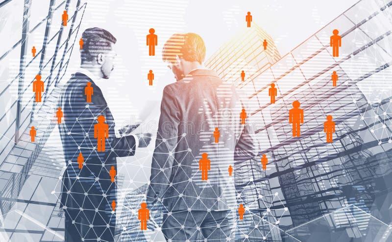 两个商人谈话在城市,人网络 向量例证