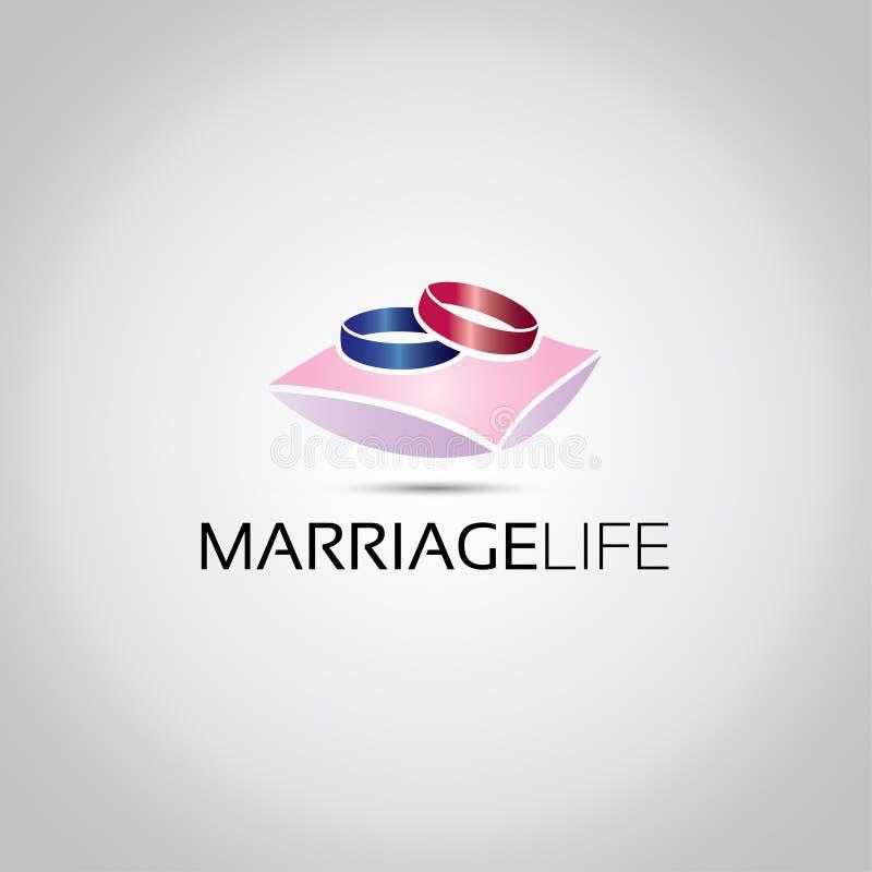 两个圆环婚姻商标 库存例证