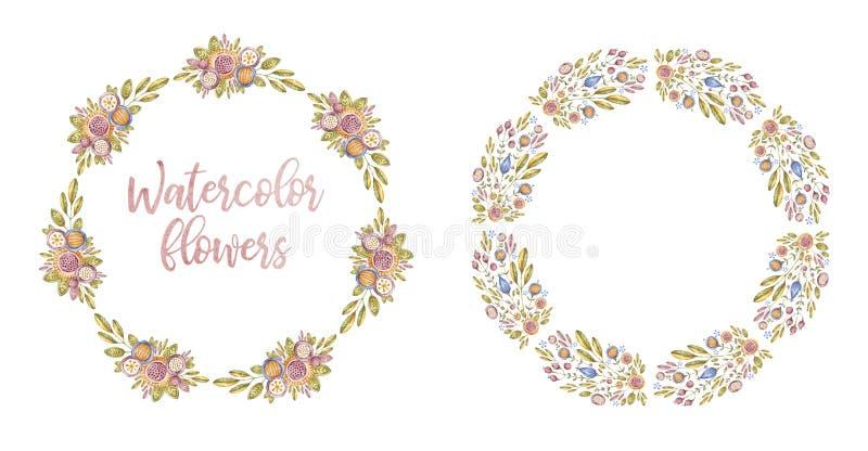 两个圈子水彩花框架,卡片盖子 库存照片