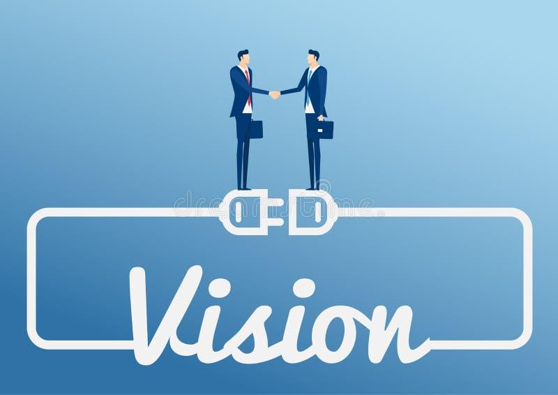 两个在巨大的架线的电子插座和插口的商人握手公司合作立场有词的视觉 皇族释放例证