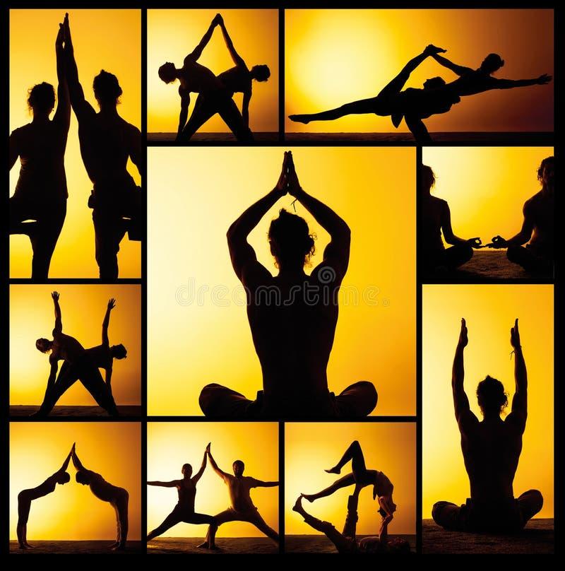 从两个在日落光的人实践的瑜伽的图象的拼贴画 库存照片
