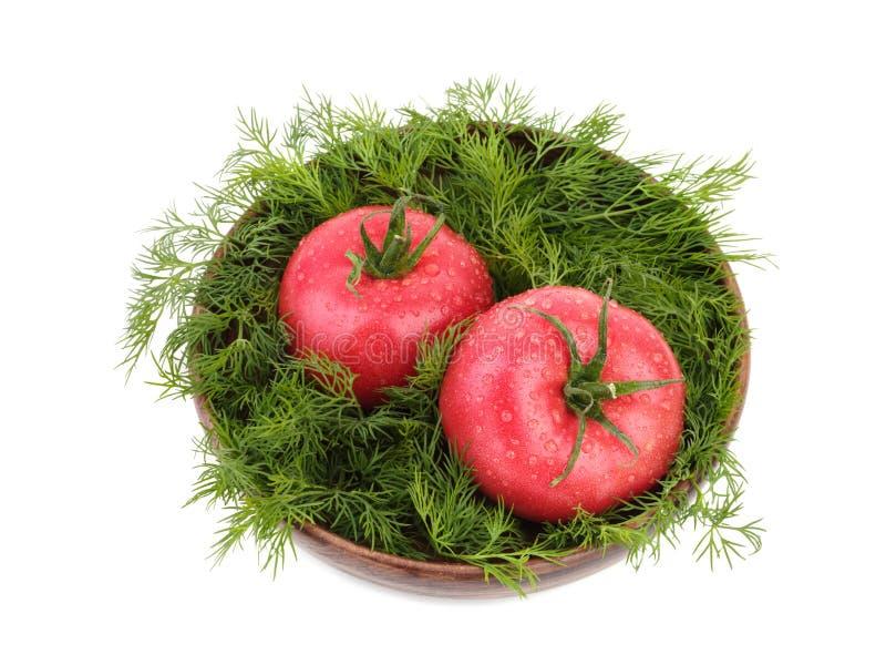 两个大蕃茄用在一个木篮子的新鲜的莳萝,隔绝在白色背景 素食食物概念,顶视图 库存照片