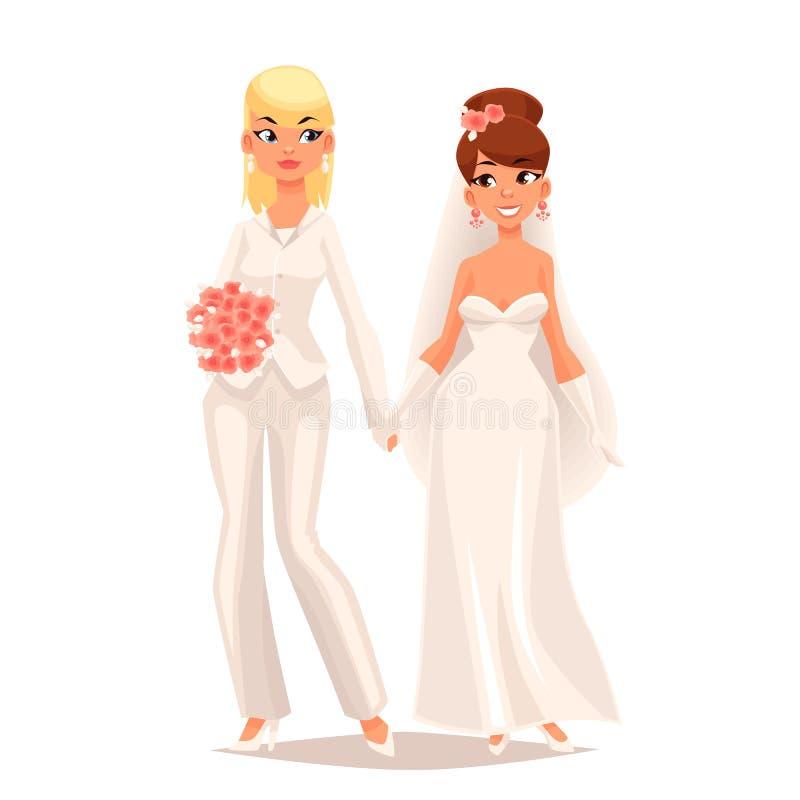 两个女同性恋者女孩婚礼  皇族释放例证