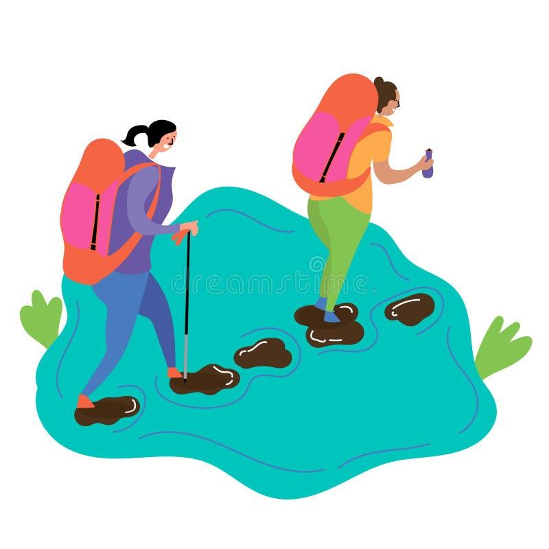 两个女孩去步行并且沿与石头的一条小河走 皇族释放例证