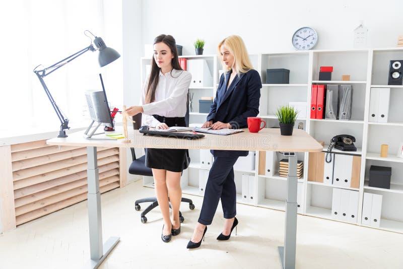 两个女孩在办公室靠近桌和神色站立在显示器 免版税库存照片