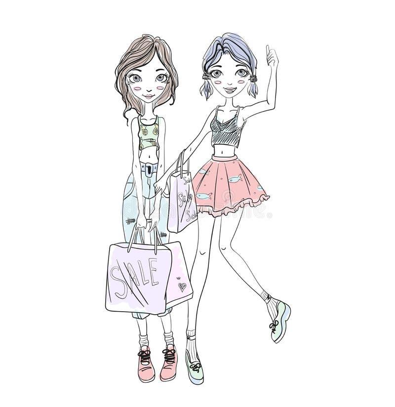 两个女孩在手上的拿着购物袋 手拉的剪影 向量例证