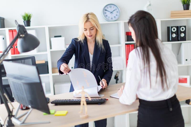 两个女孩在桌和附近弯曲的办公室站立与文件一起使用 免版税库存图片