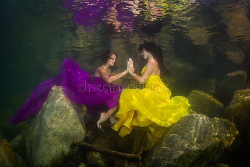 两个女孩在河 免版税图库摄影