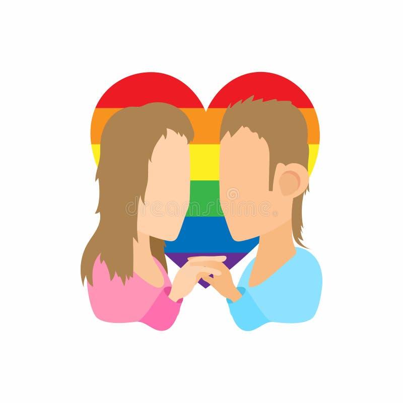 两个女孩女同性恋者象,动画片样式 库存例证