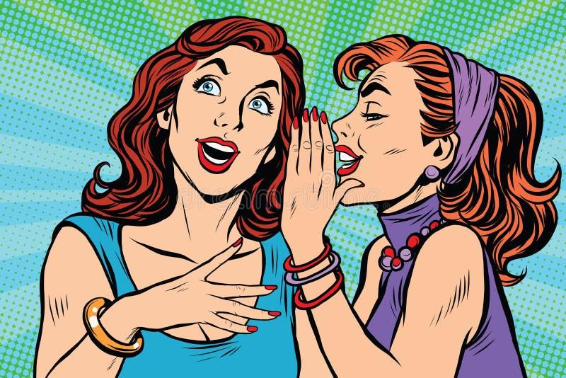 两个女孩女朋友说闲话 库存例证