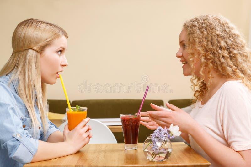 两个女孩有交谈在咖啡馆 免版税库存照片