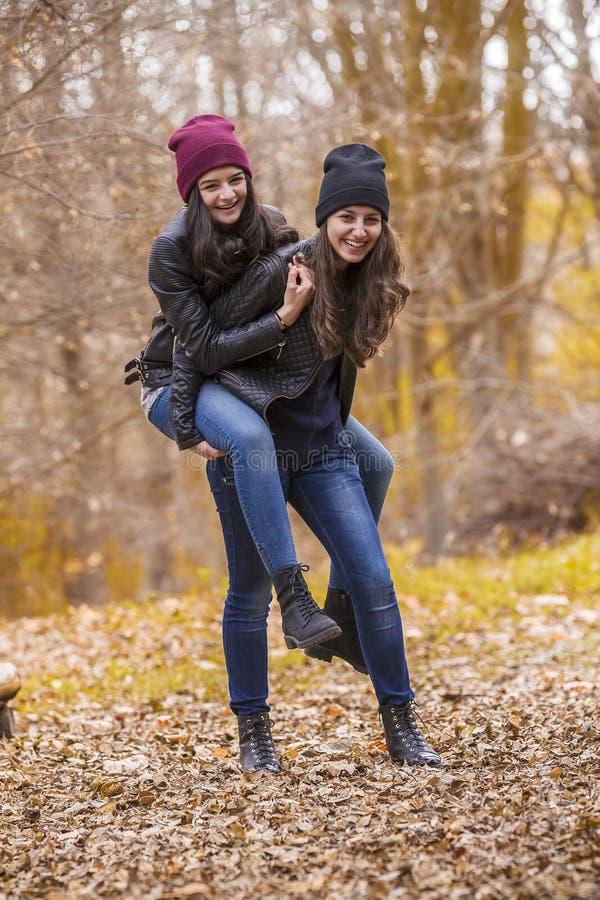 两个女孩获得乐趣在秋天公园 库存照片