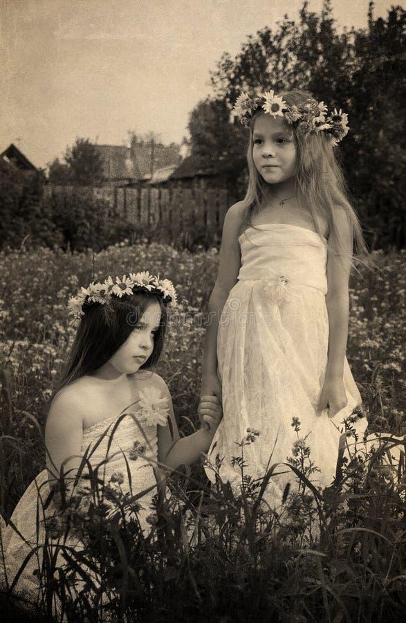 两个女孩葡萄酒照片春黄菊花圈的  免版税库存图片
