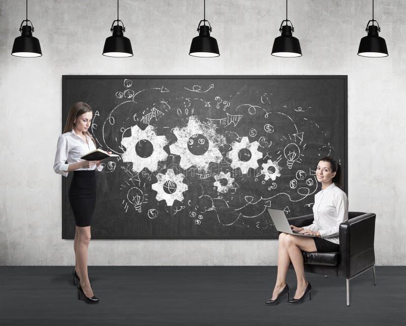 两个妇女和齿轮在黑板 免版税库存图片