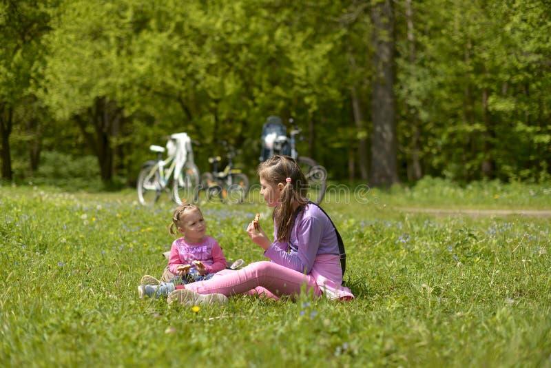 两个姐妹有一顿野餐在一个绿色草甸 免版税库存照片