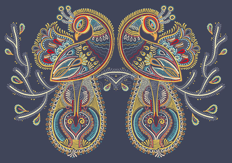 两个孔雀鸟种族民间艺术与开花的 向量例证