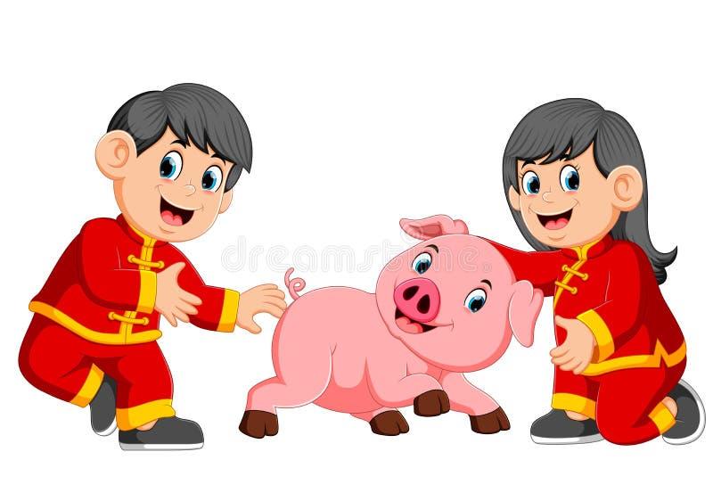 两个孩子使用与一头小的猪在春节 库存例证