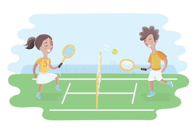 两个孩子在法院的戏剧网球 女孩和男孩 库存例证