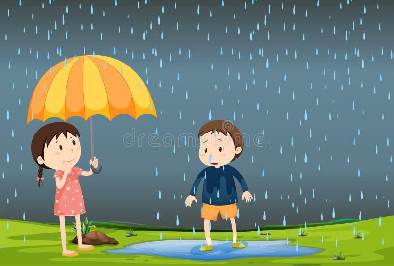 两个孩子在雨中 皇族释放例证