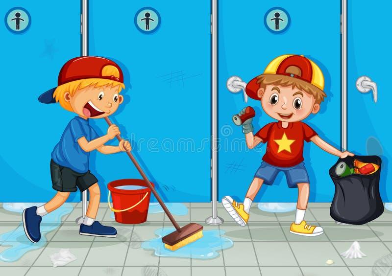 两个孩子帮助清洁洗手间 皇族释放例证